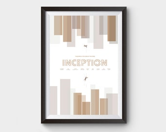 "INCEPTION - A3 (12x16"") movie, film poster, print, minimalist, dream, inception dream, minimal print, falling man, dream art, movie print"