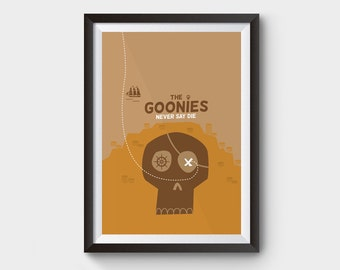 """THE GOONIES - A3 (12x16"""") movie, film poster, never say die, one eyed willy, skull, jack, chunk, treasure, ship, minimalist poster, minimal"""
