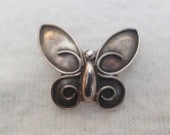 SALE !! Beautiful Stylized Butterfly Brooch Pin - Sterling Silver Brooch Signed Sue B