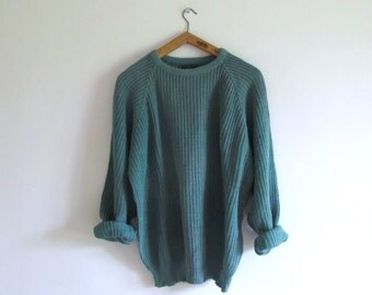 Vintage JCREW muted green oversized knit sweater