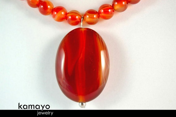 RED AGATE NECKLACE - Natural Oval Pendant and Red Agate Beads with White Agate Accents