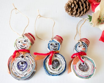 Recycled Magazine Snowman Christmas Ornaments Set of 3