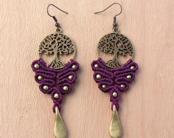 Tree of Life Earrings - rich ruby colour   *hippie gypsy style *brass beads *bohemian *festival clothing
