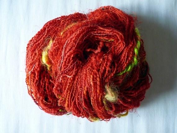 Free-form Fantasy Art Yarn handspun exclusive OOAK Red Flower