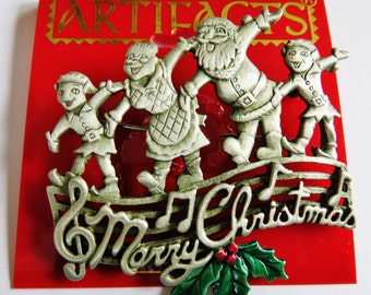 JJ Jonette Silver Pewter Santa, Mrs. Claus, And Elves Sing Merry Christmas Brooch Pin