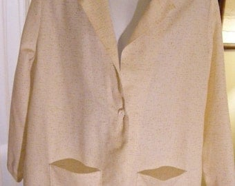 60% OFF Vintage Unlined Faux Linen - Polyester Blazer Size 24W by Booth Bay