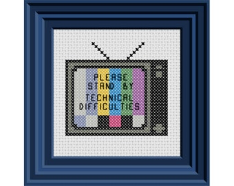 Technical Difficulties... Please Stand By!  TV Offline Cross Stitch Pattern