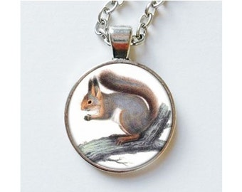 Squirrel Pendant Necklace Animal Art Gifts Cute Woodland Earrings Jewelry Jewellery