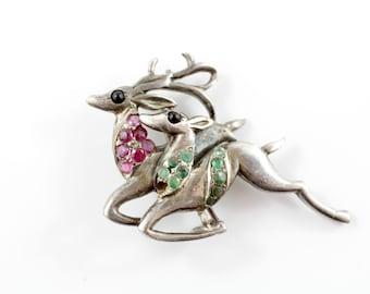 Vintage Deer Brooch, Christmas Reindeer Brooch, Woodland Jewellery, Stag and Doe Pin, Fawn Brooch