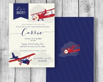 Airplane Baby Shower Invitation - 5x7