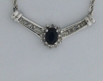 Natural Sapphire Diamond Necklace 14kt White Gold