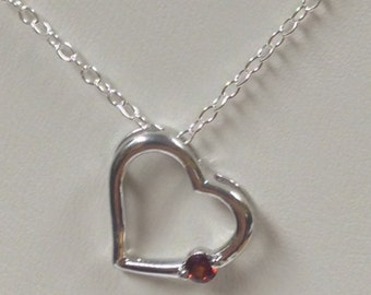 Heart Necklace with Natural Garnet 925 Silver