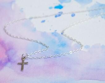 Silver Cross Necklace | Minimalistic Jewelry | Handmade Acessories
