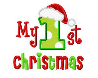 my 1st Christmas santa hat applique machine embroidery design instant download