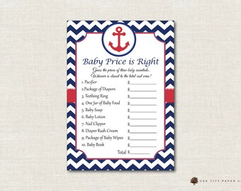 Nautical Price Is Right Baby Shower Game   Nautical Baby Shower Price Is  Right, Baby