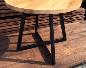 Round table modern design steel and timber