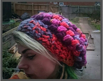 Handmade slouchy beanie, purple, blue, red tones
