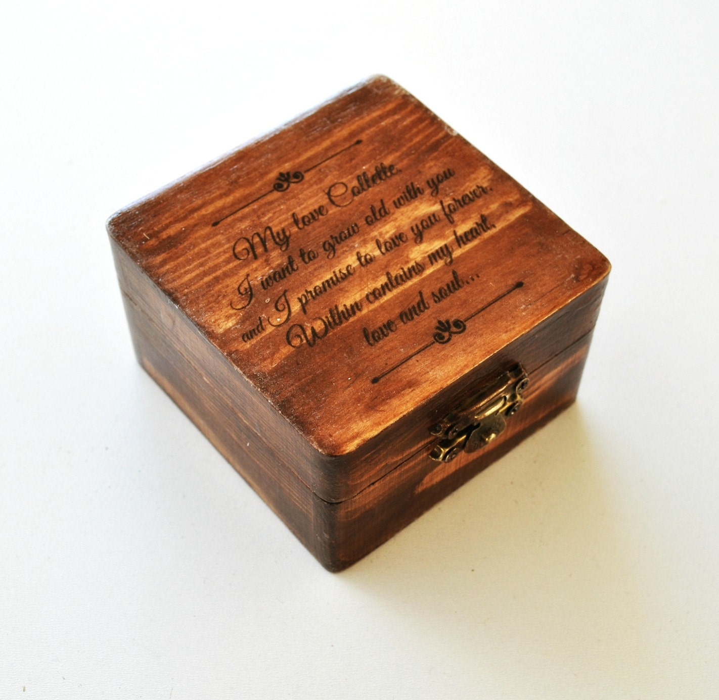 Anniversary gift Wedding ring box Wedding ring bearer