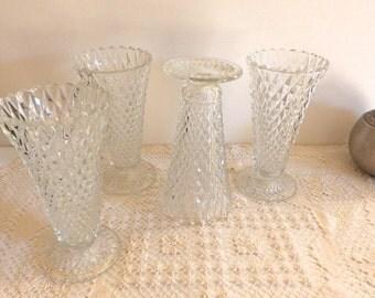Set of 4 Vintage Pressed Glass Vases