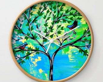 green clock, green clocks, blue clock, blue clocks, round clock, wall clock, analog clock, round clocks, wall clocks, analog clocks, bonsai