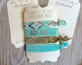 Aqua & Gold -Will you be my Bridesmaid?-Thank You Gift-Bachelorette Gift-Elastic Hair Ties- Flower Girl-Maid of Honor-Matron of Honor-Bride
