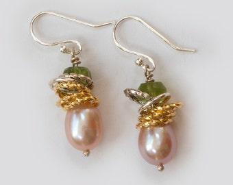 Pink, South Sea Pearl, Peridot, Bead, Drop Earrings, Mixed Metals, Silver