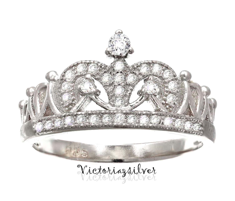sterling silver crown ring cz ringtiara ringprincess ring