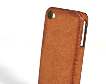 Iphone Leather Case Washed Aged for SE 5S 4S to use as protection colour COGNAC