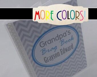 Grandparent Photo Album, Grandma brag book, Blue Chevron Photo Book girl or boy baby album 384