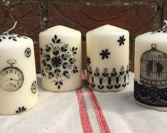 Steampunk style pillar candles for themed wedding or a party