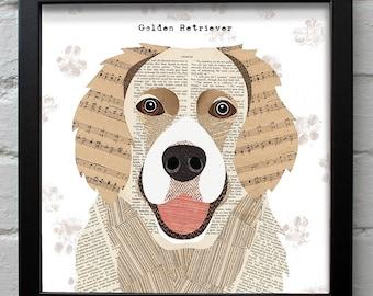 Golden Retriever dog print