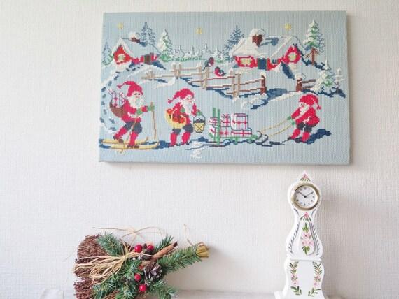 Vintage Christmas Wall Decor : Vintage embroidered wall decor swedish christmas