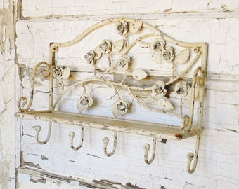 Wall Shelf,Vintage Inspired Wall Shelf,Metal Wall Shelf,Wall Shelf with Hooks,Entryway Shelf,French Country,Shabby Cottage,Chippy Paint