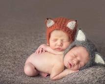 Newborn Fox Hat, Wolf hat,Luxurious Mohair Baby hat ,Photo Prop ,