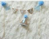 Boy Cake Bunting Flag Banner and Mini Blue Party Hat Set || Cake Smash || 1st Birthday Hat