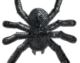 "Spider, Black Sequin Beaded  8"" x 8"" - 42971"