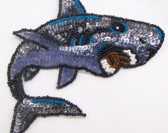 """Shark Applique, Sequin Beeaded, 5"""" x 5""""  -33698-M1386"""