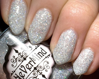 White Holo Glitter Nail Polish - Glitter Nail Lacquer - Full Size 15ml Bottle / Silver / Moonstone