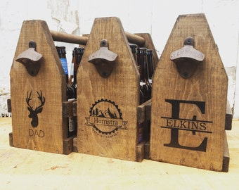 6 Pack 12oz Beer Tote, Personalized Wooden Beer Carrier for Dad and Groomsmen Ready to Ship St. Patrick's Day Gift