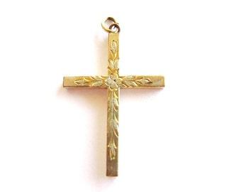 Vintage 12K Gold Filled Cross Pendant Etched Design