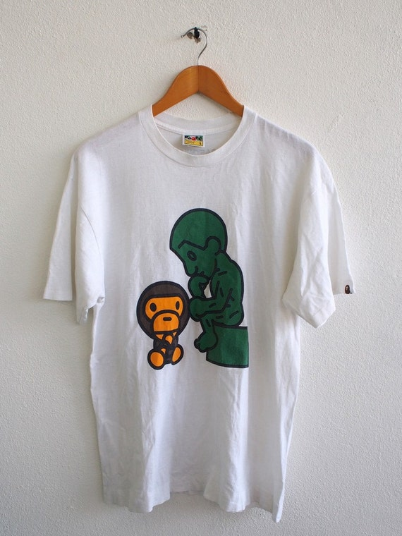 Vintage 90 39 s bape bathing ape baby milo couture streetwear for Bape t shirt sizing