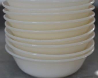 Stack Of 9 FIRE KING Milk Glass SMALL Swirl Dessert Bowls