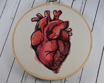 Anatomical Heart Embroidered Wall Art, Valentine's Day Gift, Anniversary Gift