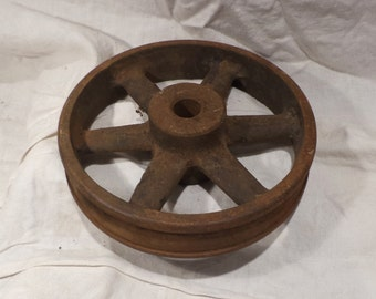 Industrial Wheel, Factory Rail Cart or Cog or Pulley or Wheel, Industrial Chic Salvage