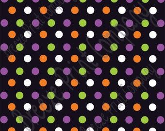 Black with purple, orange, green and white polka dot Halloween pattern craft  vinyl sheet - HTV or Adhesive Vinyl medium polka dots HTV1651