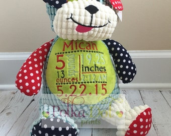 Embroidered Harlequin Dog with birth stats