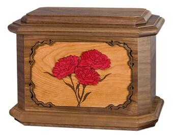 Walnut Carnations Octagon Wood Cremation Urn