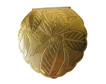 American Beauty Compact Gold Tone Leaf Scalloped - Bridesmaid Gift - Vanity Item - Purse Accessory
