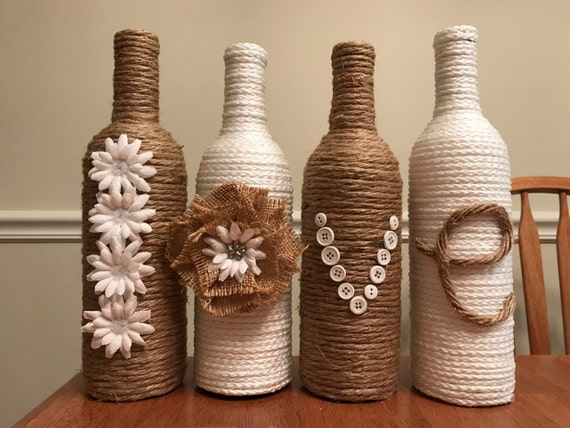 Upcylced DIY Twine Wine Bottle Tutorial |Twine Covered Wine Bottles