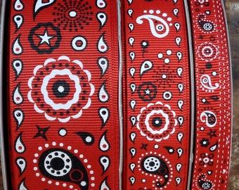 """2 Yards 3/8"""", 7/8"""" or 1.5"""" Red Bandana Print Grosgrain Ribbon - US Designer"""
